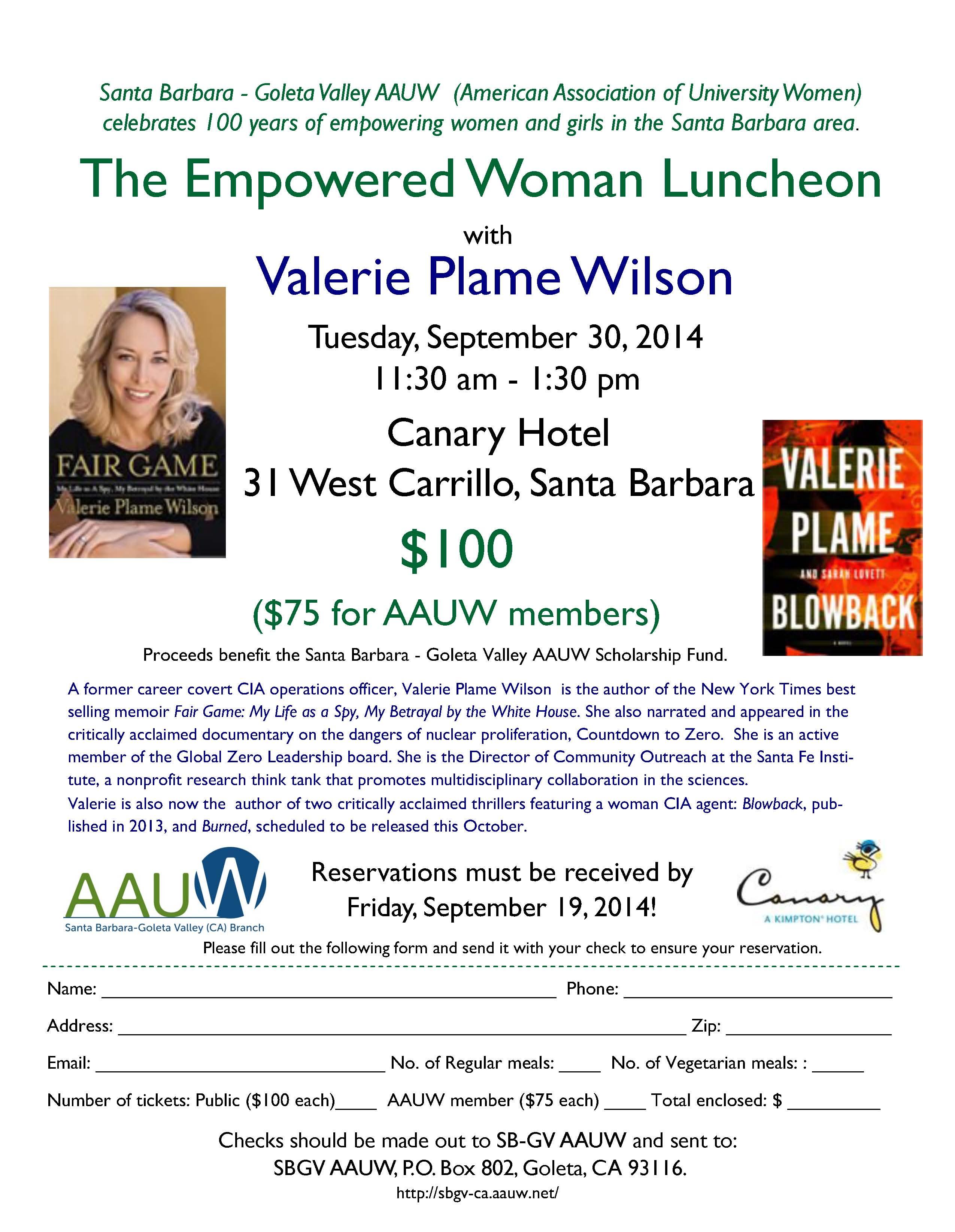 Valerie Plame lunch flyer