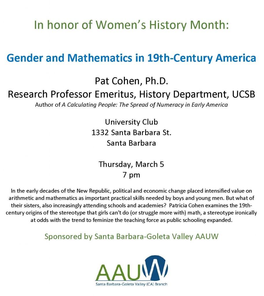 March 2015 AAUW program